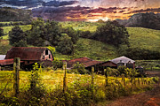 Fences Prints - Appalachian Mountain Farm Print by Debra and Dave Vanderlaan