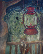 Night Lamp Painting Originals - Appalachian Nights  by Avonelle Kelsey