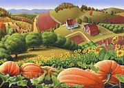 Halloween Scene Paintings - Appalachian Pumpkin Patch Farm Country Landscape 5x7 greeting card by Walt Curlee