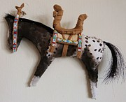 American Indian Tapestries - Textiles - Appaloosa with saddle by Lucy Deane