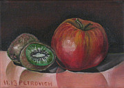 Kiwi Painting Originals - Apple And Kiwi by Petrovich