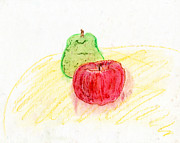 Apple Art Pastels Posters - Apple and Pear Poster by Kristen Heyden