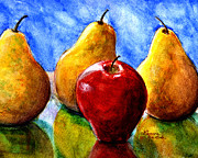 Hand Painted Framed Prints - Apple and Three Pears Still Life Framed Print by Lenora  De Lude