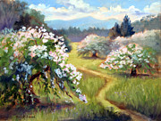 Blooming Painting Originals - Apple Bloom Corralitos by Karin  Leonard