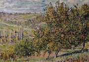 Apple Painting Posters - Apple Blossom Poster by Claude Monet