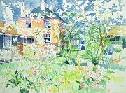 Charming Cottage Painting Posters - Apple Blossom Farm Poster by Elizabeth Jane Lloyd