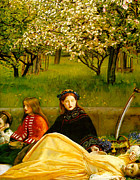 Country Scene Digital Art Prints - Apple Blossoms Print by John Everette Millais