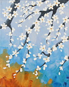 Tree Blossoms Paintings - Apple Blossoms tryptych 2 by Shiela Gosselin