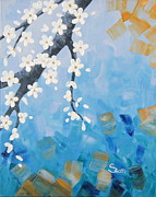 Tree Blossoms Paintings - Apple Blossoms trypych 3 by Shiela Gosselin