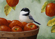 Bird Paintings - Apple Chickadee Greeting Card 1 by Crista Forest