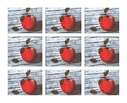 Red Leaves Pastels - Apple Collage by Barbara Griffin