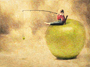 Surrealism Drawings Prints - Apple Dream Print by Taylan Soyturk