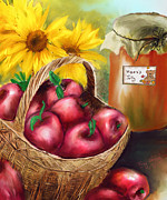 Jelly Jar Framed Prints - Apple Harvest Framed Print by Mary Almond