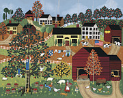 Picking Apples Posters - Apple Harvest Poster by Medana Gabbard