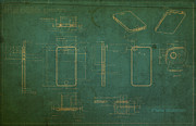 Featured Art - Apple iPhone Vintage Retro Blueprints Plans on Worn Distressed Canvas by Design Turnpike