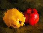 Lemon Art Posters - Apple Lemon Still Life Poster by Yury Malkov