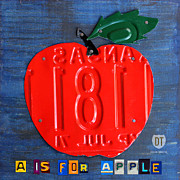 Apple Art Posters - Apple License Plate Art Poster by Design Turnpike