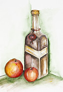 Bottle Cap Painting Posters - Apple liqueur Poster by Irina Gromovaja