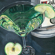 White Prints - Apple Martini Print by Debbie DeWitt