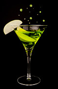 Apple Martini Posters - Apple Martini splash Poster by Richard ONeil