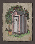 Apple Digital Art Originals - Apple Orchard Outhouse by Richard Neuman