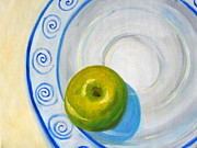 American Food Painting Prints - Apple Plate Print by Nancy Merkle