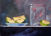 Glass Table Reflection Painting Metal Prints - Apple Snack Metal Print by Nancy Merkle