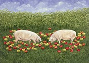 Pig Posters - Apple Sows Poster by Ditz
