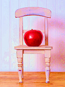 Chair Posters - Apple Still Life with Doll Chair Poster by Edward Fielding