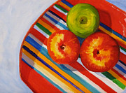 Home Plate Paintings - Apple Stripe by Nancy Merkle