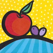 Grapes Painting Posters - Apple Sun Poster by Mary Tere Perez