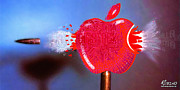 Icon Mixed Media Originals - Apple by Tony Rubino