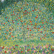 Colorful Floral Gardens Paintings - Apple Tree I by Gustav Klimt