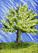 Handmade Trunk Posters - Apple tree Painting with White Flowers Poster by Keith Webber Jr