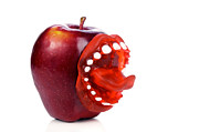 William Voon Prints - Apple with sticking out tongue Print by William Voon
