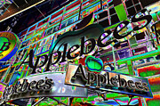 Mahattan Framed Prints - Applebees restaurant sign at new york city Framed Print by Lanjee Chee