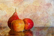 Juicy Posters - Apples And A Pear Poster by Heidi Smith