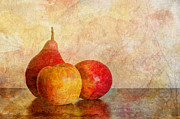 Trio Framed Prints - Apples And A Pear II Framed Print by Heidi Smith