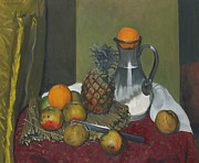Carafe Posters - Apples and a pineapple Poster by Felix Edouard Vallotton
