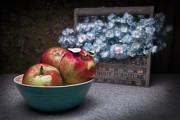 Blue Bowl Posters - Apples and Flower Basket Still Life Poster by Tom Mc Nemar