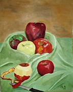 Table Cloth Paintings - Apples and Knife by Janet C Stevens
