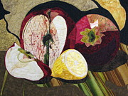 Fiber Art Tapestries Textiles Tapestries - Textiles Posters - Apples and Lemon Poster by Lynda K Boardman