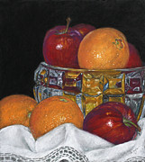 White Cloth Pastels Framed Prints - Apples and Oranges Framed Print by Flo Hayes
