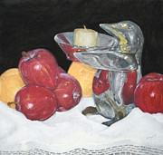 Table Cloth Pastels Metal Prints - Apples and OrangesThree Metal Print by Flo Hayes
