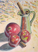 Hard Pastels Posters - Apples and Pomegranate Poster by Matthew Patenaude