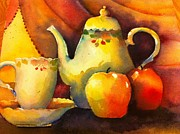 Teapot Painting Originals - Apples and Tea by Sandy Siebold