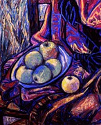 Drapery Pastels Prints - Apples by an Open Window Print by Kendall Kessler