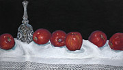 Table Cloth Pastels Metal Prints - Apples Metal Print by Flo Hayes