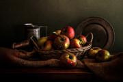 Still-life With A Basket Posters - Apples in a basket Poster by Hugo Bussen