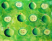 Number Painting Posters - Apples in Halves Poster by Julie Nicholls